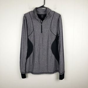 CHAMPION Quarter Zip Athleisure Pullover Vented Side and Back Panel Gray Black